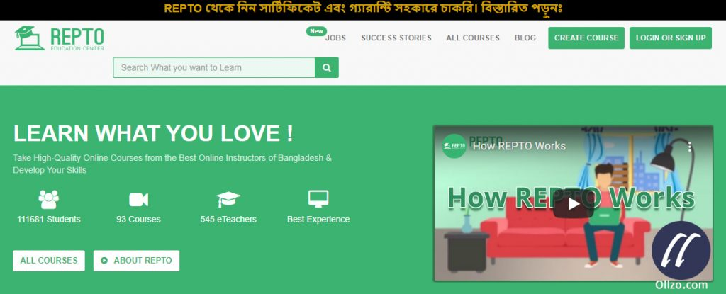 Repto Education Center, WordPress Learning Bangladesh, Ollzo.com