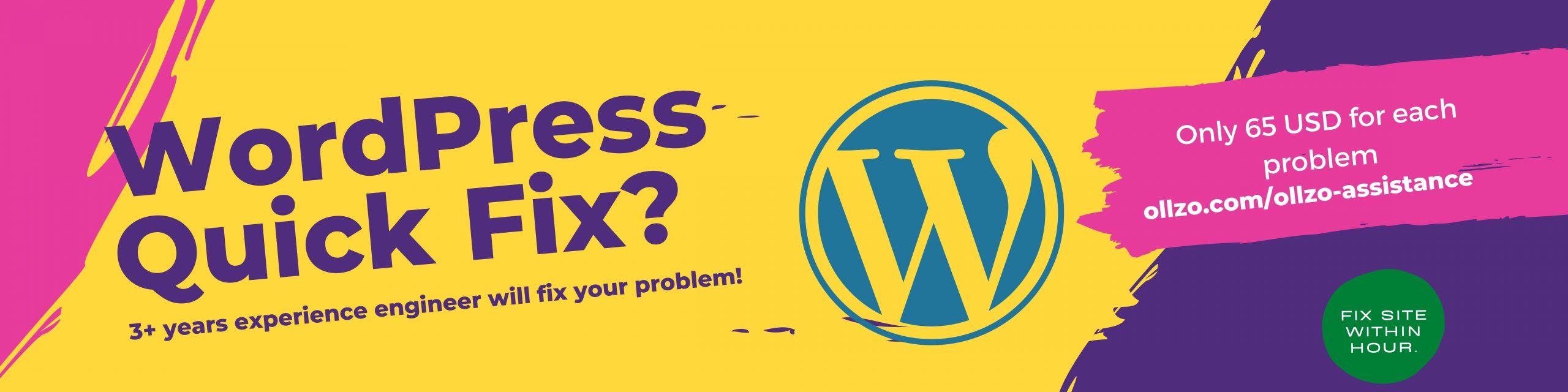 WordPress quick fix by ollzo