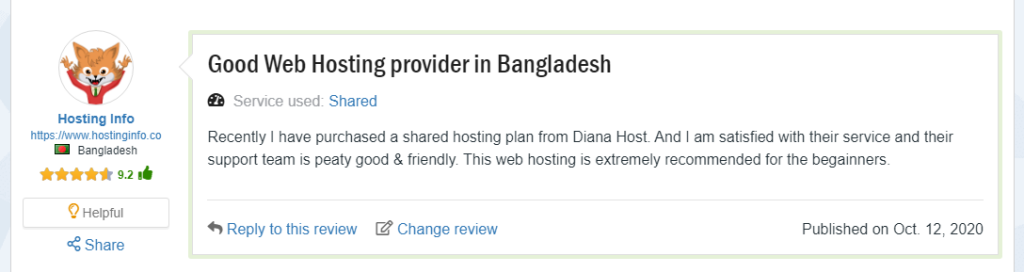 Client feedback for DainaHost, Best Hosting BD, ollzo