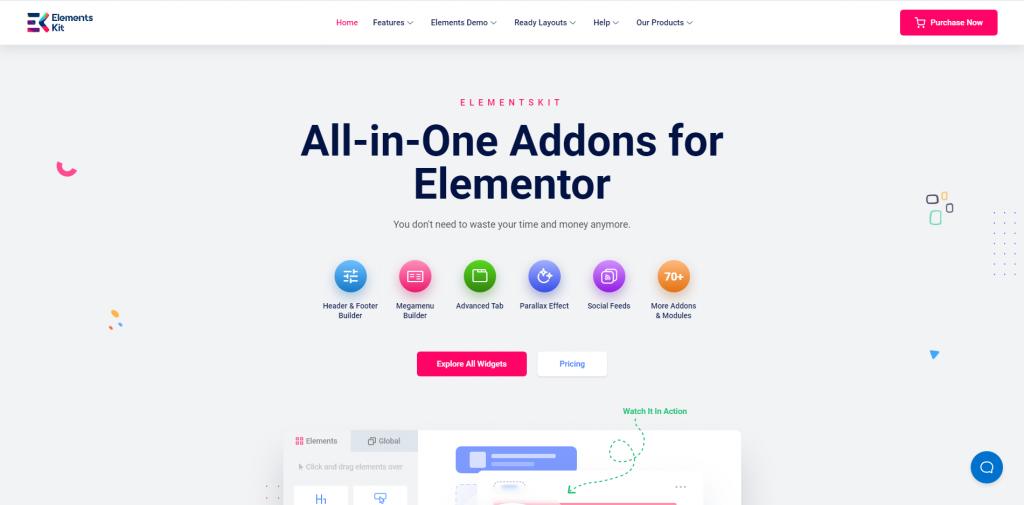 ElementsKit landing page, ElementsKit Review, best Elementor addon, ollzo