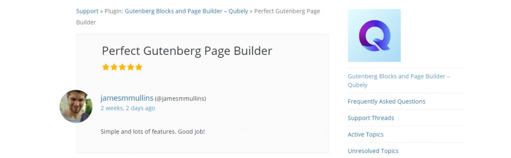 Qubely review on WordPress org, Qubely Gutenberg Block Editor, ollzo